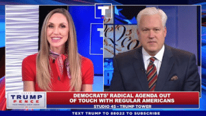 Party, Record, and Text: CO  TRUMP  PEN CE  DEMOCRATS' RADICAL AGENDA OUT  OF TOUCH WITH REGULAR AMERICANS  STUDIO 45 TRUMP TOWER  TEXT TRUMP TO 88022 TO SUBSCRIBE My proven record of conservatism has led to MASSIVE support for my re-election by Republicans. Our party is united!