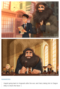 Tumblr, Back, and Com: co  ulusketches.tumblr. com  lulusketches.tumblr.com  lulusketches  Hagrid going back to Hogwarts after the war, and Harry taking him to Diagon  Alley to return the favor) Hagrid deserves this