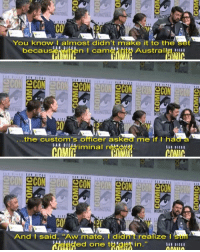 """Memes, Australia, and Jokes: CO  You know I almost didn't make it to the set  becauseWie  n came nto  Australia …  ECON  CO  the custom's officer asked me if t had a  inal reco  CO  And I said, """"Aw mate, I didnt realize l Karl Urban, a New Zealand native, jokes about trying to get into Australia, where Thor Ragnarok was being filmed. karlurban skurge thorragnarok marvel"""