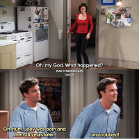 Friends, God, and Memes: CO06 CO  Oh, my God. What happened?  DAILYFRIENDSCAPS  [4x02]  NEW-YOR  atiu  oh, hum, Joey was born and  men 28years lafer  Iwasrobbed! & then they got the canoe😂😂 [ friends friendstv friendsshow friendsseries friendstvshow friendstvseries ]