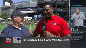 """""""This is a tough business, but it beats working.""""  Bill Belichick still loves #NFLTrainingCamp after all these years. (via @WillieMcGinest on @nflnetwork) https://t.co/dgfQVPzHGC: COACH PROFILE  PATRIOTS  NFL  Bill  Belichick  NFLN  Won 6 Super Bowls as NE HC  (most by HC all-time)  31 career playoff wins  as HC (most all-time)  INSIDE  TRAINING  CAMPLIVE  Bill Belichick 1-on-1 with Willie McGinestregular season  225-79 w/NE  AState Farm """"This is a tough business, but it beats working.""""  Bill Belichick still loves #NFLTrainingCamp after all these years. (via @WillieMcGinest on @nflnetwork) https://t.co/dgfQVPzHGC"""