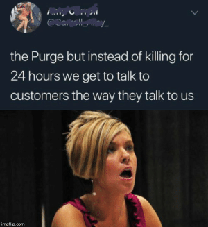 The Purge, Chat, and Com: COallay  the Purge but instead of killing for  24 hours we get to talk to  customers the way they talk to us  imgflip.com *Manager has left the chat*