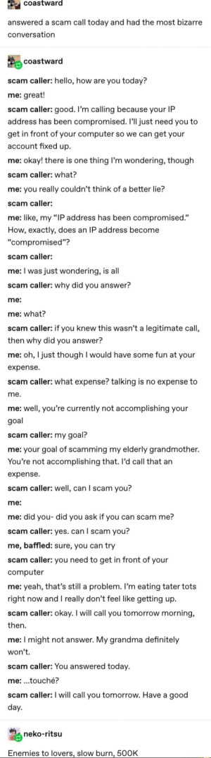 "Definitely, Grandma, and Hello: coastward  answered a scam call today and had the most bizarre  conversation  coastward  scam caller: hello, how are you today?  me: great!  scam caller: good. I'm calling because your IP  address has been compromised. I'll just need you to  get in front of your computer so we can get your  account fixed up  me: okay! there is one thing I'm wondering, though  scam caller: what?  me: you really couldn't think of a better lie?  scam caller:  me: like, my ""IP address has been compromised.""  How, exactly, does an IP address become  ""compromised""?  scam caller:  me: I was just wondering, is all  scam caller: why did you answer?  me:  me: what?  scam caller: if you knew this wasn't a legitimate call,  then why did you answer?  me: oh, I just though I would have some fun at your  expense  scam caller: what expense? talking is no expense to  me.  me: well, you're currently not accomplishing your  goal  scam caller: my goal?  me: your goal of scamming my elderly grandmother.  You're not accomplishing that. Il'd call that an  expense  scam caller: well, can I scam you?  me:  me: did you- did you ask if you can scam me?  scam caller: yes. can I scam you?  me, baffled: sure, you can try  scam caller: you need to get in front of your  computer  me: yeah, that's still a problem. I'm eating tater tots  right now andI really don't feel like getting up  scam caller: okay. I will call you tomorrow morning,  then  me: I might not answer. My grandma definitely  won't.  scam caller: You answered today.  me: .touché?  scam caller: I will call you tomorrow. Have a good  day.  neko-ritsu  Enemies to lovers, slow burn, 500K"