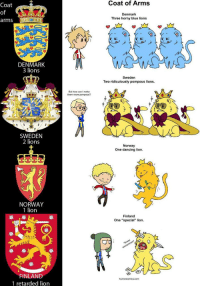 "Dancing, Horny, and Retarded: Coat of Arms  Coat  of  arms  Denmark  Three horny blue lions  DENMARK  3 lions  Sweden  Two ridiculously pompous lions  But how can I make  them more pompous?  SWEDEN  2 lions  Norway  One dancing lion  NORWAY  1 lion  Finland  One ""special"" lion  崋崋  FINLAND  1 retarded lion  com <h2>Los leones de los escudos de armas de los países nórdicos.</h2>"