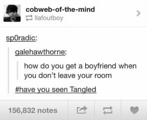 It can happen!omg-humor.tumblr.com: cobweb-of-the-mind  2 llafoutboy  spOradic:  galehawthorne:  how do you get a boyfriend when  you don't leave your room  #have you seen Tangled  156,832 notes It can happen!omg-humor.tumblr.com
