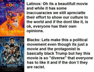 "The diference between latinos and blacks: cOCO  Latinos: Oh its a beautifull movie  and while it has some  inaccuaracies we still apreciatte  their effort to show our culture to  the world and if the dont like it, is  ok, everyone has their own  opinions.  Blacks: Lets make this a political  movement even though its just a  movie and the protagonist is  basically black Trump but hey this  movie is so ""diverse"" that everyone  has to like it and if the don t they  are racist. The diference between latinos and blacks"
