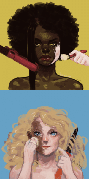 cocoapuffpussy: iainart:  A series for an assignment on social issues. I chose to focus on blackface in fashion and the double standards of beauty women of colour face.  See how it's the white girl doing it to herself, but someone else is doing it to the black girl : cocoapuffpussy: iainart:  A series for an assignment on social issues. I chose to focus on blackface in fashion and the double standards of beauty women of colour face.  See how it's the white girl doing it to herself, but someone else is doing it to the black girl