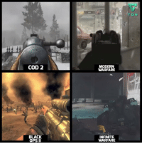 Call of Duty has evolved quite a bit over the years.: COD 2  BLACK  OPS II  MODERN  WARFARE  INFINITE  WARFARE  T GN Call of Duty has evolved quite a bit over the years.