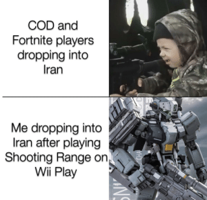And/Or Tanks too: COD and  Fortnite players  dropping into  Iran  Me dropping into  Iran after playing  Shooting Range on  Wii Play  CHA  (EEARM And/Or Tanks too