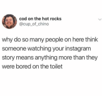 Bored, Dank, and Instagram: cod on the hot rocks  @cup_of_chino  why do so many people on here think  someone watching your instagram  story means anything more than they  were bored on the toilet