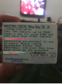 Friend broke his leg in a dirt bike accident this weekend. Pharmacist has no chill.: (CODAPANE FORTE 500/30)  Take TWO tablets up to FOUR  times a day for pain *Do not  take more than EIGHT 온ablets  containing par acetanol in any  24 hours: Avoid riding  motorbikes faster than  20km/hour, and even then keep  both tires on the ground**  1.13.19A 158912 AR  KEEP OUT OF REACH OF CHILDREN  J. Perry, L Oakley-Abbott, W. & H. Scot  24/09/18 FERMA  Pharmasave 2/12 church Street, Whitleseo VIC 3757  WHITTLESEA  PHONE: 03 9716 0260 Friend broke his leg in a dirt bike accident this weekend. Pharmacist has no chill.