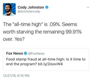 "Cheating, Family, and Food: Cody Johnston  @drmistercody  The ""all-time high"" is .09%. Seems  worth starving the remaining 99.91%  over. Yes?  Fox News @FoxNews  Food stamp fraud at all-time high: Is it time to  end the program? bit.ly/2ioovW4  12/27/16, 6:15 PM constant-instigator: landlordkiller420:  anarchapella:  comcastkills:  profeminist: Source  even if the fraud was like 5% it wouldn't compare to rich people cheating the system by trillions lmao   Also, SNAP ""fraud"" is like exchanging some of your stamps for cash to buy necessities you can't buy with stamps, like soap or deodorant or tampons    TBH even if one hundred percent of people on food stamps were committing food stamp fraud I'd still be in favor of keeping the program around   Hey I wanna talk about this. I work at a drug addiction counseling center. A ton of my clients have, at one time or another, sold their food stamps. This is basically exactly what the GOP is afraid of, right? Drug addicts selling their food stamps. I have learned, now, to ask them WHY they sold their food stamps. Here is an incomplete list of the answers: - I need tampons, and you can't buy them with foodstamps - See above RE: toilet paper - I was living in a hotel with no kitchen then. I had to buy pre-prepared food - The homeless shelter won't let me keep food in my locker or room, so I have to buy pre-prepared food (Yes, really) - I had to make rent - My sister had to make rent - My son had to make rent - I needed co-pays to get my medication or I'll die - I needed co-pays to get my medication or I'll loose control of my mental health  But the absolute most common form of food stamp fraud I see? Giving away food stamps to other family members who get no food stamps or insufficient food stamps to feed their families. I see that every month. People glassy eyed and hungry because they gave away their food to their adult kids, their grand kids, cousins, siblings etc. So, is food stamp fraud rampant? In some places, yes. And I'm not about to chastise people for it."