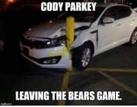 Bears, Game, and Com: CODY PARKEY  LEAVING THE BEARS GAME  imgflip.com https://t.co/PTKvusqot9