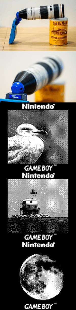 "retrogamingblog:   Photographer Bastiaan Ekeler made a modified zoom lens so that he could take photos of distant objects with a Gameboy camera  : Cofe Du Monde  GAL FH  COFFEE AND CHIEB  CAFE DU MONDE"" COFEE  ATOLD JHCEo  sew 0LAANS Ioin  NET WE 15 02z.i   GAME BO  camera   Nintendo  GAMEBOY  TH   Nintendo  GAMEBOY  Ti   Nintendo  GAME BOY retrogamingblog:   Photographer Bastiaan Ekeler made a modified zoom lens so that he could take photos of distant objects with a Gameboy camera"
