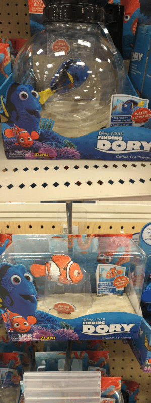 raeloganthesonic06fangirl:  soaringcomet:  Attention Parents/Aunts/Uncles/Anyone buying a gift for a kid:  After Finding Dory there will be a lot of kids who want clownfish/blue tangs/ other fish from the movie.  Salt water fish are expensive and difficult to care for. Some like clown fish can be bred in captivity, but some like the blue tang cannot be meaning that they need to be kidnapped from the ocean. Additionally, blue tangs can get VERY BIG.  Target has these new toys that are water activated, so they'll swim around in a bowl just like fish. They come as dory, nemo, and marlin. They make a fantastic alternative to real fish.  TL;DR Dont buy kids real saltwater fish after Finding Dory, get them these toys from Target instead  What a better idea. Boosting this to save the fishies : COFF  INCLU  FILL WITH W  TAKE DORY  #8  Batteries  RY  으  WATER  . Tap  tap to  wake me u (ACTIVATED  DSNEp PIXAR  FINDING  WARNINGA  CHOKING HAZARD-Smal  Not for children under  ZURU  Coffee Pot Playset  www.zuru.com   CH  TRA  ANGE  ANDE  Tap tap to SWIMMING  wake me u  LIFELIKE  NEMO  e Swims in all  directions  WATER  ACTIVATED  DISNE PIXAR  FINDING  WARNING:  parts URU  Not tor children  Swimming Nemo  www.zuru.com raeloganthesonic06fangirl:  soaringcomet:  Attention Parents/Aunts/Uncles/Anyone buying a gift for a kid:  After Finding Dory there will be a lot of kids who want clownfish/blue tangs/ other fish from the movie.  Salt water fish are expensive and difficult to care for. Some like clown fish can be bred in captivity, but some like the blue tang cannot be meaning that they need to be kidnapped from the ocean. Additionally, blue tangs can get VERY BIG.  Target has these new toys that are water activated, so they'll swim around in a bowl just like fish. They come as dory, nemo, and marlin. They make a fantastic alternative to real fish.  TL;DR Dont buy kids real saltwater fish after Finding Dory, get them these toys from Target instead  What a better idea. Boosting this to save the fishies