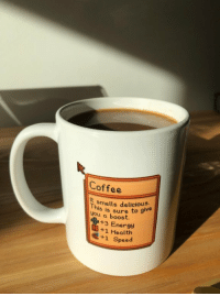 welovegamingz: I made this mug for StardewValley fans! [GET IT HERE!] or on my [REDBUBBLE STORE…] : Coffee  It  you a boost  smells delicious.  This  you a bsure to give  +3 Energy  +1 Health  +1 Speed welovegamingz: I made this mug for StardewValley fans! [GET IT HERE!] or on my [REDBUBBLE STORE…]