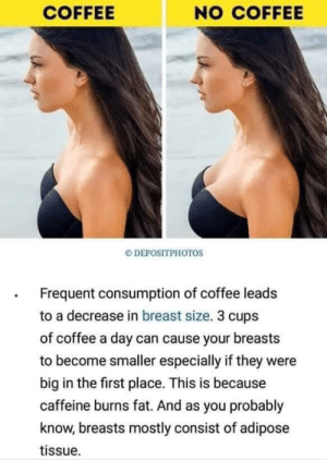 Drinking, Coffee, and Fat: COFFEE  NO COFFEE  DEPOSITPHOTOS  Frequent consumption of coffee leads  to a decrease in breast size. 3 cups  of coffee a day can cause your breasts  to become smaller especially if they were  big in the first place. This is because  caffeine burns fat. And as you probably  know, breasts mostly consist of adipose  tissue. Transmasc guys, we just gotta start drinking more coffee!