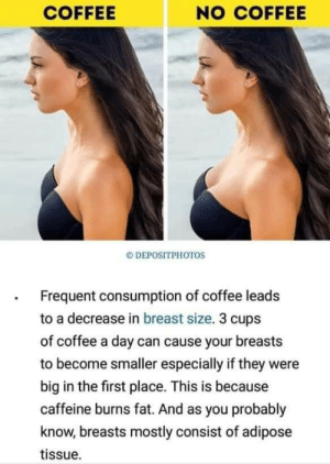 Coffee, Fat, and Intensifies: COFFEE  NO COFFEE  DEPOSITPHOTOS  Frequent consumption of coffee leads  to a decrease in breast size. 3 cups  of coffee a day can cause your breasts  to become smaller especially if they were  big in the first place. This is because  caffeine burns fat. And as you probably  know, breasts mostly consist of adipose  tissue /coffee intake intensifies *just in case*