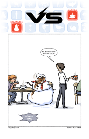 Coffee, Yes, and Com: COFFEE  SNOWMAN  YES, I'M VERY SURE  THAT WAS DECAF.  COFFEE  WINS!  VSCOMIC.COM  O2017 ALEX RYAN decaf please