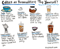 """Being Alone, Beautiful, and Books: Coffees as Personalities: Tag yourself!  ESpresso:  Small, bu  Latle: Sweet.  Works wel wih Small but  moSt people. Likes mighty. Gets A  to be fancy, can S  be ridiculous.  Regular coffee:  Coppucino: often  Serious and quiet.  ways welcome  ever^where, but Prefers books to  Canaet a little  bitter if left  alone too long.  Shit DONE.  eople.  Iced coramel Americano:  Decaf coffee  useless waste of macchi ato S. Intellgen  lnVenti chotolatg  AdventurouS Secret romanic Chip extra whi  space. Good for  nothing. Onlya  mother could love  life of the  Party  extra Suru  extra cold Soy  trappucino  Soul  Total aSshole.  Ou.  SiSSybiscuit.com <p><a class=""""tumblr_blog"""" href=""""http://girlpacino.tumblr.com/post/138298344383"""">girlpacino</a>:</p> <blockquote> <p>this is the most pretentious thing my beautiful eyes have ever had to witness</p> </blockquote>"""