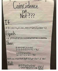 """""""okay but zzzz equals 104% so"""": Coincidence  A BCDEFGHI JKLMNOPORS TuvWX  quals  Then  HARD WORK  Both are important,but falloust short of  But """"okay but zzzz equals 104% so"""""""
