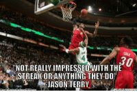 Meme, Nba, and Http: COLE  NOT REALLY IMPRESSED WITH THE  STREAK OR ANYTHING THEY DO'  JASON TERRY  NHAM Jason Terry Speaks Out! Credit: Kyle Pués  http://whatdoumeme.com/meme/3x6cme