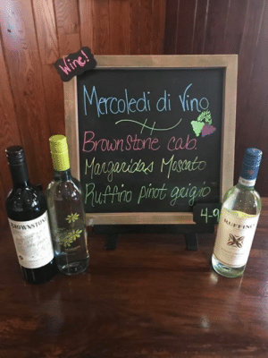 Wine Wednesday! $4.00 glasses or $12.00 bottles🙌🏻🍷🍇 Here is this weeks featured wines!: coledi di ling  Brown Storie cab  4.0  RUFFIN Wine Wednesday! $4.00 glasses or $12.00 bottles🙌🏻🍷🍇 Here is this weeks featured wines!