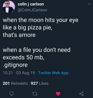 Pizza, Twitter, and Moon: colin j carlson  @ColinJCarlson  when the moon hits your eye  like a big pizza pie,  that's amore  when a file you don't need  exceeds 50 mb,  .gitignore  10:21 03 Aug 19 Twitter Web App  201 Retweets 927 Likes A wonderful poem