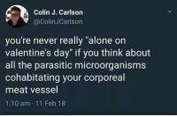 "vessel: Colin J. Carlson  @ColinJCarlson  you're never really ""alone on  valentine's day"" if you think about  all the parasitic microorganisms  cohabitating your corporeal  meat vessel  1:10 am 11 Feb 18"