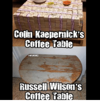 When will they give him a new contract?😂: Colin Kaepernick s  Coffee Table  @NFLMEMEZ  Russell Wilson's  Coffee Dabie When will they give him a new contract?😂