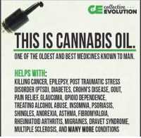 gout: collective  EVOLUTION  THIS IS CANNABIS OIL  ONE OF THE OLDEST AND BESTMEDICINESKNOWN TO MAN.  HELPS WITH  KILLING CANCER, EPILEPSY POST TRAUMATIC STRESS  DISORDER (PTSD), DIABETES, CROHNS DISEASE, GOUT.  PAIN RELIEF GLAUCOMA, OPIOID DEPENDENCE,  TREATING ALCOHOLABUSE, INSOMNIA, PSORIASIS,  SHINGLES, ANOREXIA, ASTHMA, FIBROMYALGIA,  RHEUMATOID ARTHRITIS, MIGRAINES, DRAVET SYNDROME,  MULTIPLESCLEROSIS, AND MANY MORE CONDITIONS