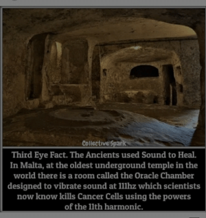 Cancer, Oracle, and World: Collective Spark  Third Eye Fact. The Ancients used Sound to Heal.  In Malta, at the oldest underground temple in the  world there is a room called the Oracle Chamber  designed to vibrate sound at 11llhz which scientists  now know kills Cancer Cells using the powers  of the 1lth harmonic. Found this.