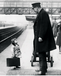 England, Target, and Tumblr: collectivehistory:  A young passenger asks a station attendant for directions. Bristol Railway Station, England, 1936, by George W. Hales