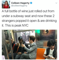 """I follow @kalesalad and u should too"" - Kendall Jenner and Jesus: Colleen Hagerty  @colleenhagerty  A full bottle of wine just rolled out from  under a subway seat and now these 2  strangers popped it open & are drinking  it. This is peak NYC  ANASTASIA  THE NE ""I follow @kalesalad and u should too"" - Kendall Jenner and Jesus"