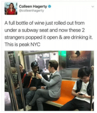 "Club, Drinking, and Subway: Colleen Hagerty  @colleenhagerty  A full bottle of wine just rolled out from  under a subway seat and now these 2  strangers popped it open & are drinking it.  This is peak NYC  NAST  ASIA <p><a href=""http://laughoutloud-club.tumblr.com/post/166218739378/sharing-is-caring"" class=""tumblr_blog"">laughoutloud-club</a>:</p>  <blockquote><p>Sharing is caring</p></blockquote>"