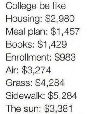 Be Like, Books, and College: College be like  Housing: $2,980  Meal plan: $1,457  Books: $1,429  Enrollment: $983  Air: $3,274  Grass: $4,284  Sidewalk: $5,284  The sun: $3,381