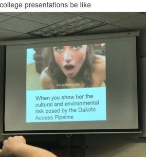 Be Like, College, and Dank: college presentations be like  It's so fucking big.  When you show her the  cultural and environmental  risk posed by the Dakota  Access Pipeline Interesting title by usagiemmy MORE MEMES