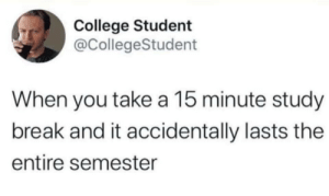 You Take: College Student  @CollegeStudent  When you take a 15 minute study  break and it accidentally lasts the  entire semester