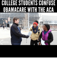 Memes, 🤖, and Aca: COLLEGE STUDENTS CONFUSE  OBAMACARE WITH THE ACA  SA  UC  FA  NE  OH  CT  SH  T T  NT  EW  UE  TR  SA  EC M  LA  LB  00 Facepalm... #BigGovSucks
