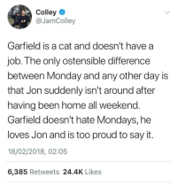 "Gif, Love, and Mondays: Colley  @JamColley  6e a  Garfield is a cat and doesn't have a  job. The only ostensible difference  between Monday and any other day IS  that Jon suddenly isn't around after  having been home all weekend.  Garfield doesn't hate Mondays, he  loves Jon and is too proud to say it.  18/02/2018, 02:05  6,385 Retweets 24.4K Likes lennythereviewer:  nightf4iry:  raeloganthesonic06fangirl:  asksapphirejewel:   pembrokewkorgi: @ihatejonarbuckle  @raeloganthesonic06fangirl   Well, I mean, Garfield does care Anyone who's ever owned a cat knows that they have thier own ways to show they love you An often overlooked thing about Garfield is between the snark and schemes, he's really a loving kitty I guess these aren't as memorable as the wackier strips But Jon can always count on Garfield to make him smile when it really matters And Garfield knows that Jon cares I swear, my cat is the same way, the below picture is an accurate portrait of how it is to have a dog and cat the same time. Theory accepted    wholesome   It's rare to see Garfield content on Tumblr that isn't ""Jon is a heartless monster"" or ""Garfield is some eldritch horror"""