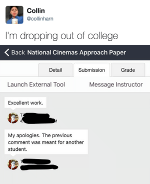 College, Work, and Tool: Collin  @collinharn  I'm dropping out of college   Back National Cinemas Approach Paper  Detail  Submission  Grade  Launch External Tool  Message Instructor  Excellent work.  4  My apologies. The previous  comment was meant for another  student.