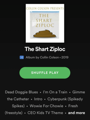 Fresh, Kids, and Train: COLLIN COLSON PRESENTS  THE  SHART  ZIPLOC  The Shart Ziploc  Album by Collin Colson 2019  SHUFFLE PLAY  Dead Doggie Blues I'm On a Train Gimme  the Catheter Intro Cyberpunk (Spikedy  Spikes) Wowie For Chowie Fresh  (freestyle) CEO Kids TV Theme and more Fantano sleeping on the album of the year