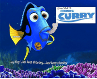 Nba, Robert, and States: Collin  STATE  FINDING  OKURRY  ENBAMEMES  Hey Klay! Just keep shooting. Just keep shooting Anybody find Steph in Game 3? Credit: Robert Brooks