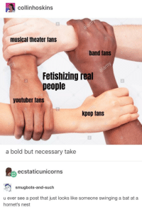 Say It, Mean, and Nest: collinhoskins  musical theater fans  band tans  Fetishizing real  people  youtuber fans  kpop fans  a bold but necessary take  ecstaticunicorns  smugbots-and-such  u ever see a post that just looks like someone swinging a bat at a  hornet's nest I mean theyre right but they shouldnt say it