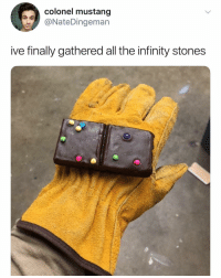 Bruh 💀: colonel mustang  @NateDingeman  ive finally gathered all the infinity stones Bruh 💀