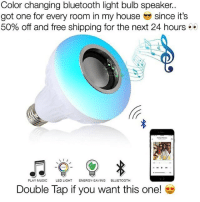 Bluetooth, Energy, and Funny: Color changing bluetooth light bulb speaker..  got one for every room in my house since it's  50% off and free shipping for the next 24 hours ..  PLAY MUSIC LED LIGHT ENERGY-SAVING BLUETOOTH  Double Tap if you want this one! 👉 @ignuslights 👈 - 50% OFF + FREE shipping for the next 24 hours only! 😱 Get yours before they run out! - 😎 Take your room to the next level 😎 - 👉 @ignuslights 👈 👉 @ignuslights 👈