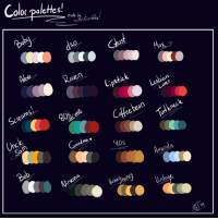 Target, Tumblr, and Blog: Color paleHes!  S.  Baby  Sarlasfcsa  Ghast  aven  Ma  Scieams  Lipstick  esbian-  Lover  Unck  Coffe bean  cand ma.  utenec  Wirvana  manda  one hone  ntage sarcasticscribbles:  Played around with some color palettes! Send me a character/ character and a paletteFree to use!