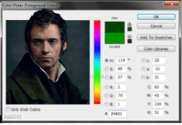 <p>Hue Jackman</p>: Color Picker (Foreground Color)  OK  Cancel  Add To Swatches  Color Librares  current  OL: 25  s: 99 % a:-31  H: 119  OR: 2  OG: 70  OB: 1  # 24601  C:83%  M:45%  Y:100 %  K:51 %  Only Web Colors  EGGZIST <p>Hue Jackman</p>