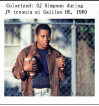 OJ Simpson: Colorized: OJ Simpson during  JV tryouts at Galileo HS, 1960