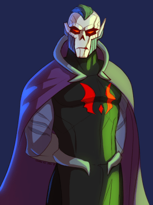 Lit, Shit, and Tumblr: ColoRS of -ean colors-of-fear:  the drawing of my Horde Prime design that made at least a part of the Discord lose their entire shit[ID: a digital drawing of an imposing alien character. He is wearing a black tunic with a red insignia of a diamond with red wings on the sides, a purple cape with a standing collar, and some armor on his forearms. His face is angular, dark blue on the sides and a white mask-like marking on the front. His eyes are red and surrounded by black markings. He has a huge scar going over the right side of his face, over the eye and mouth. His ears are pointed and one is clipped. He is lit with green on the one side and cyan on the other.]